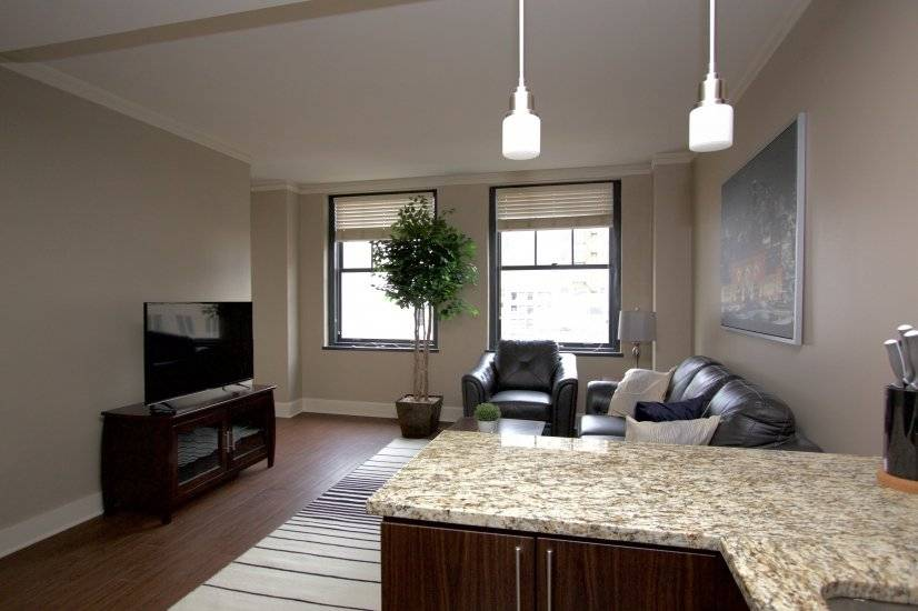 """Living Room furnished with 49"""" Smart TV with Cable and DVD"""