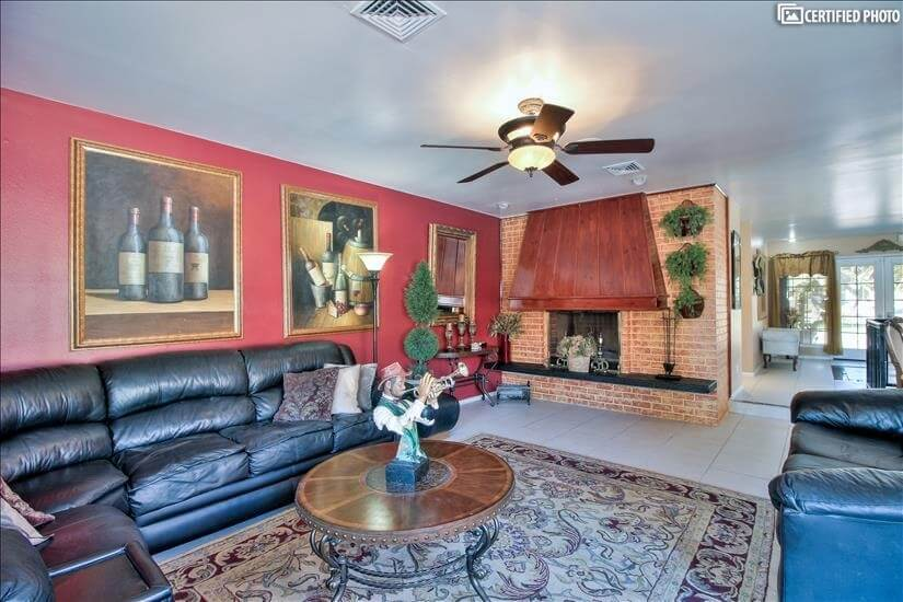 Red Family room with fireplace