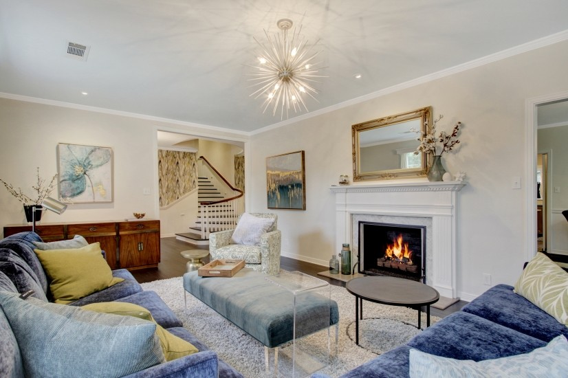 Living room with fireplace view