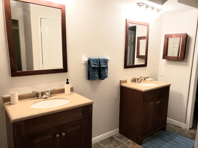 double vanities in master are separate from toilet/shower rm