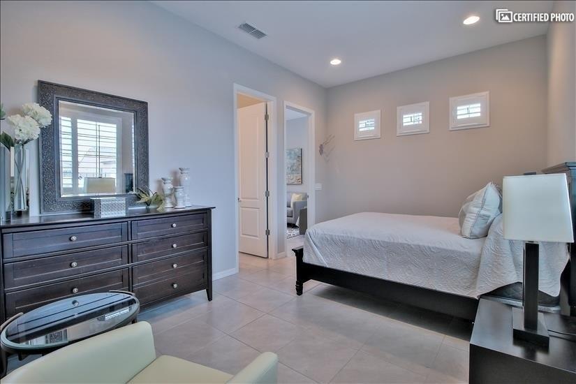 View of bedroom in guest suite.