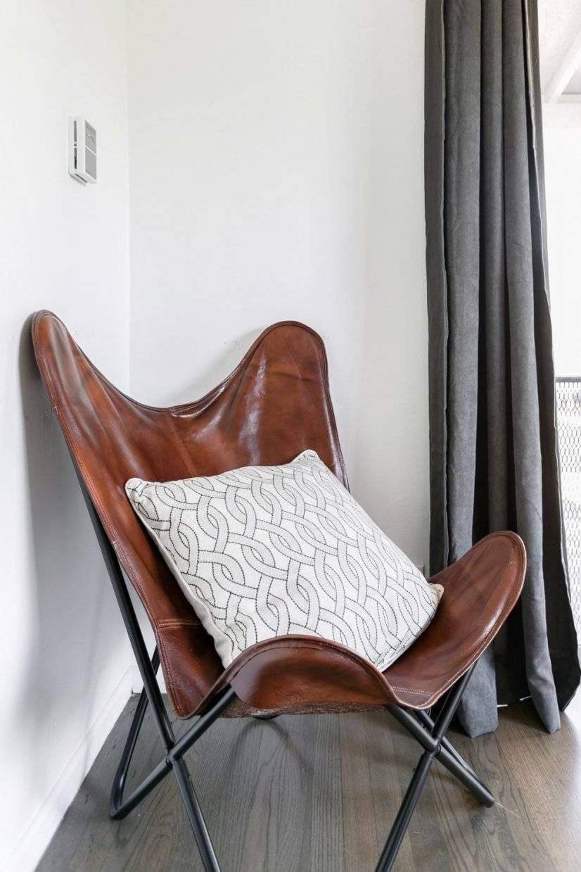 Leather butterfly chair in living room