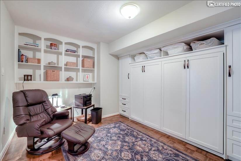 Murphy bed, closet and storage.