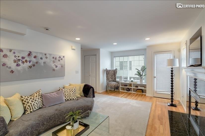 Living Room with built in bookshelf
