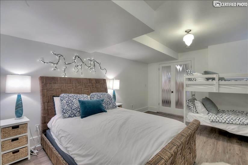 Queen bed with bunk beds