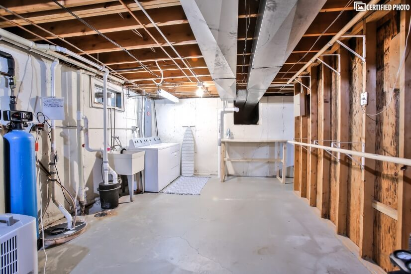 Basement Utility Room with Washer and Dryer
