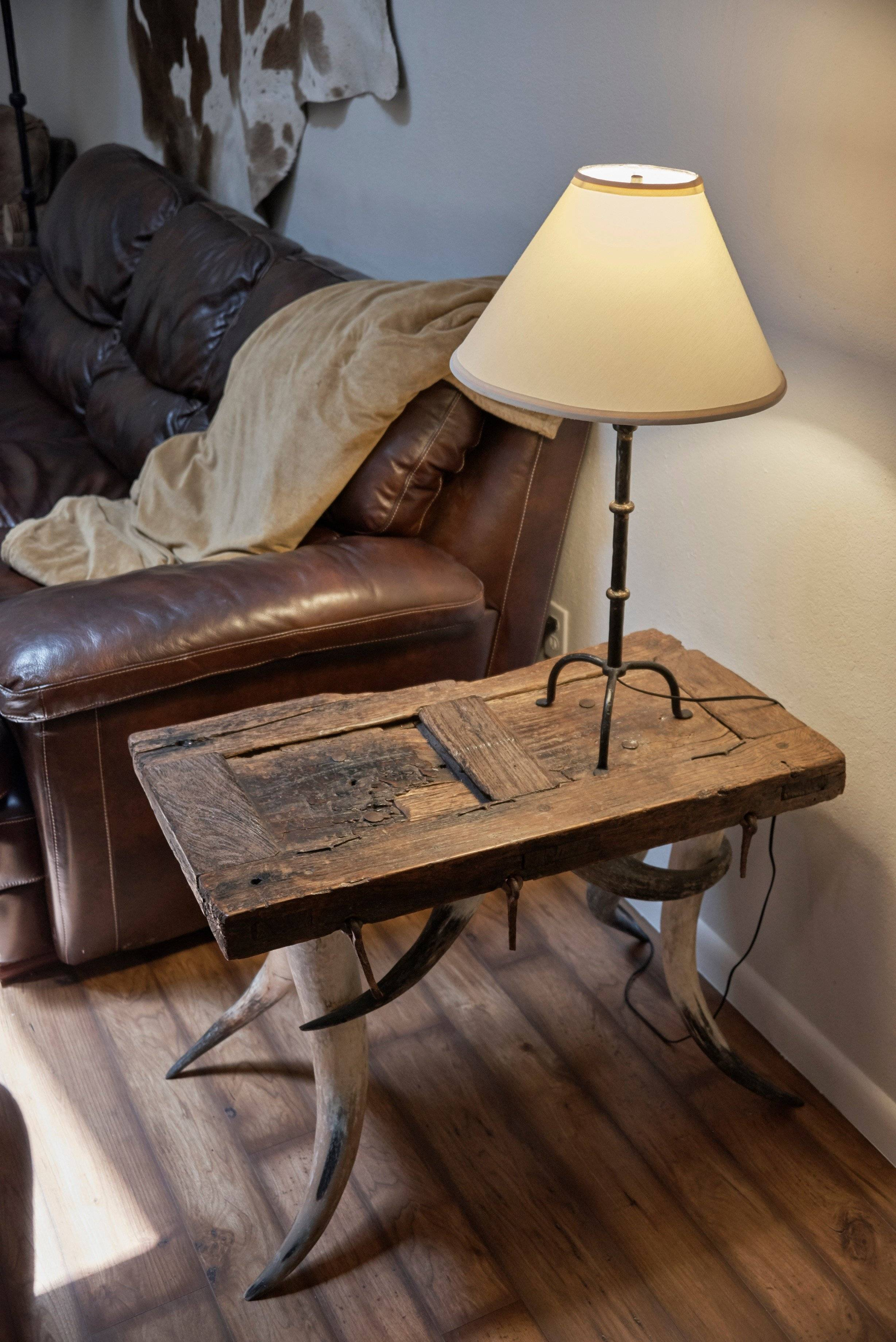 Texas Ranch décor- distressed end table with bull horn legs