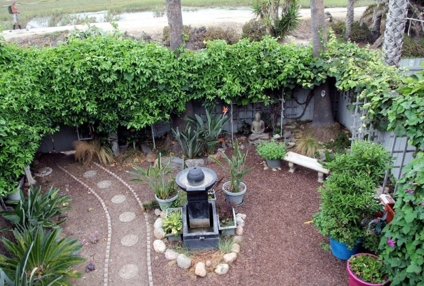 Meditation garden in backyard
