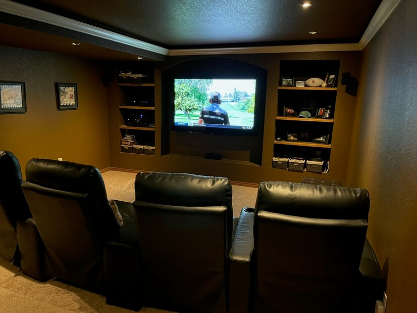 Media room with recliners