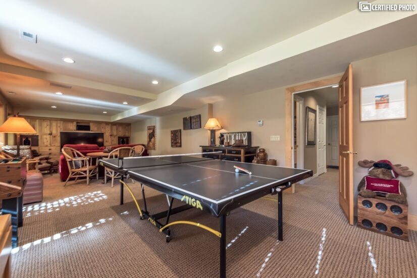 Have fun with a full-size ping pong and foosball table
