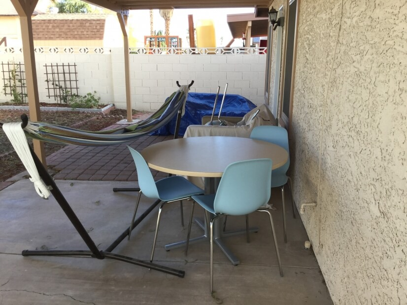 Backyard covd patio with hammock to relax and