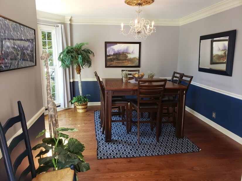 High top dining table, hardwood floors, tall