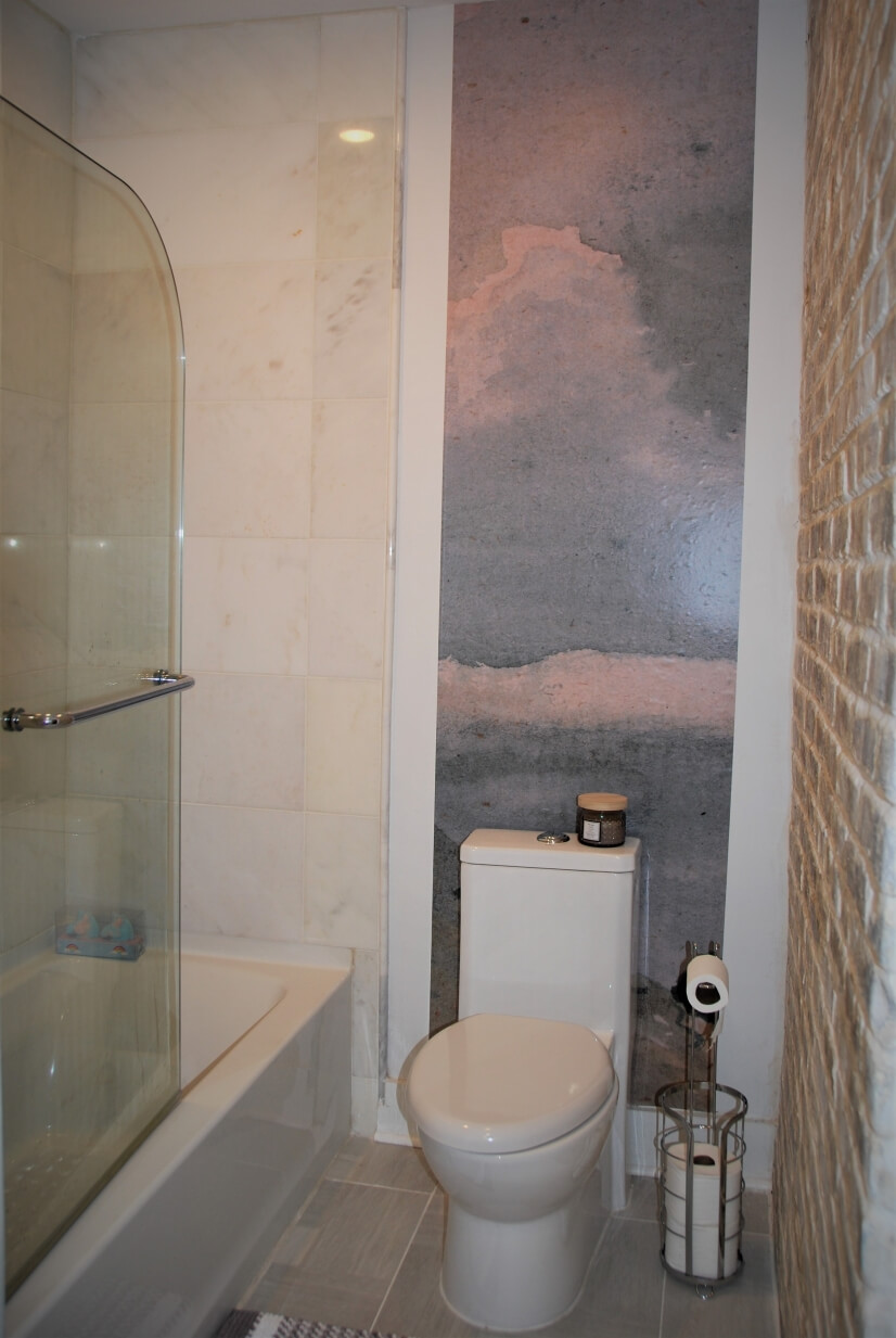 Marble Shower/Tub with Hinged Half Glass Wall and Mural