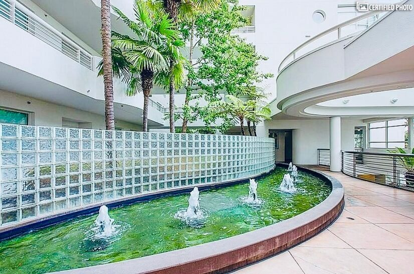 Fountains inside building walkway