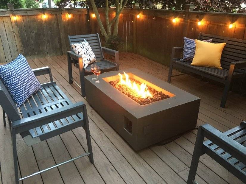 Deck with propane firepit