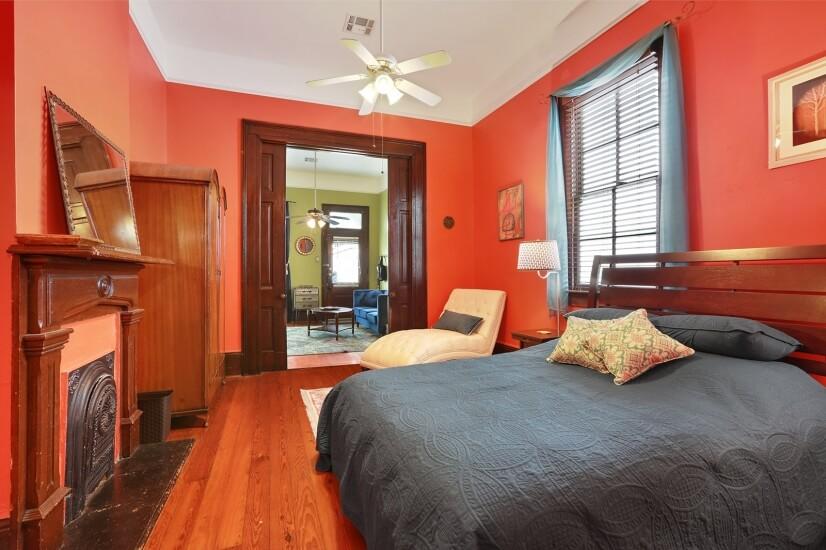 Pocket doors between living room and bedroom provide privacy