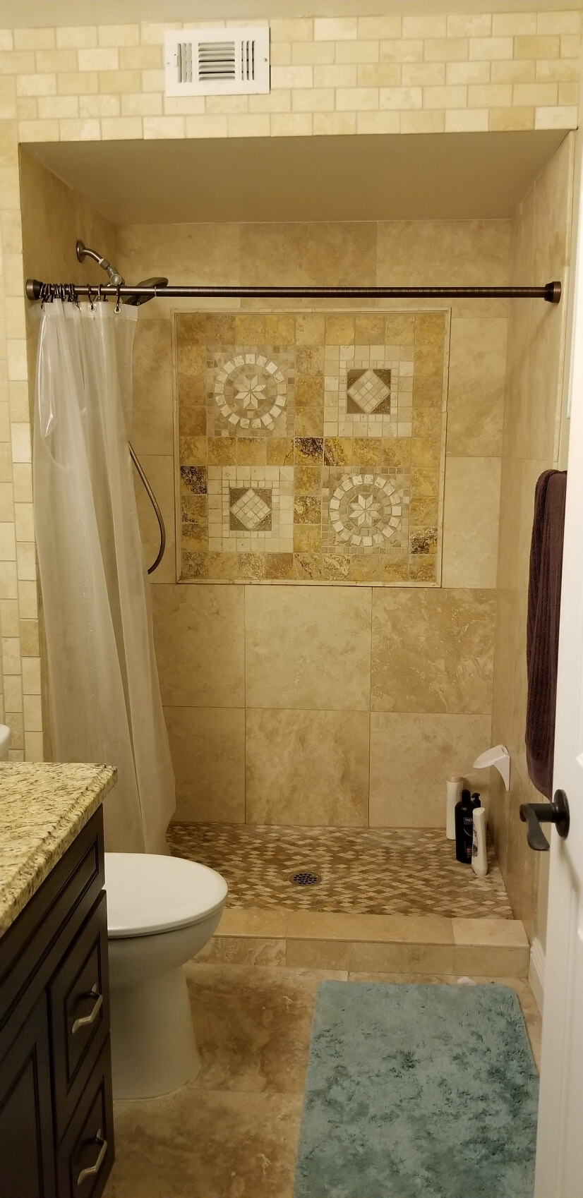 Oversized shower area