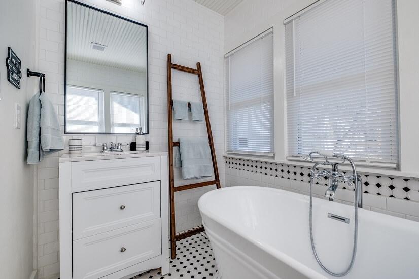 Upstairs bathroom -pedestal tub