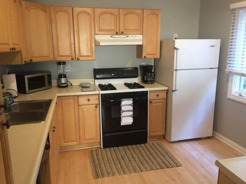 Kitchen has stove dishwasher refrigerator microwave