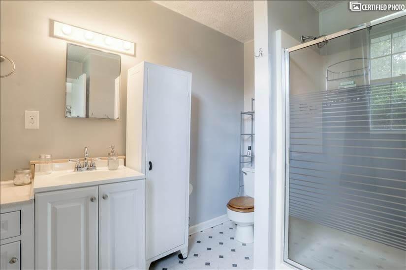 vanity, linen closet