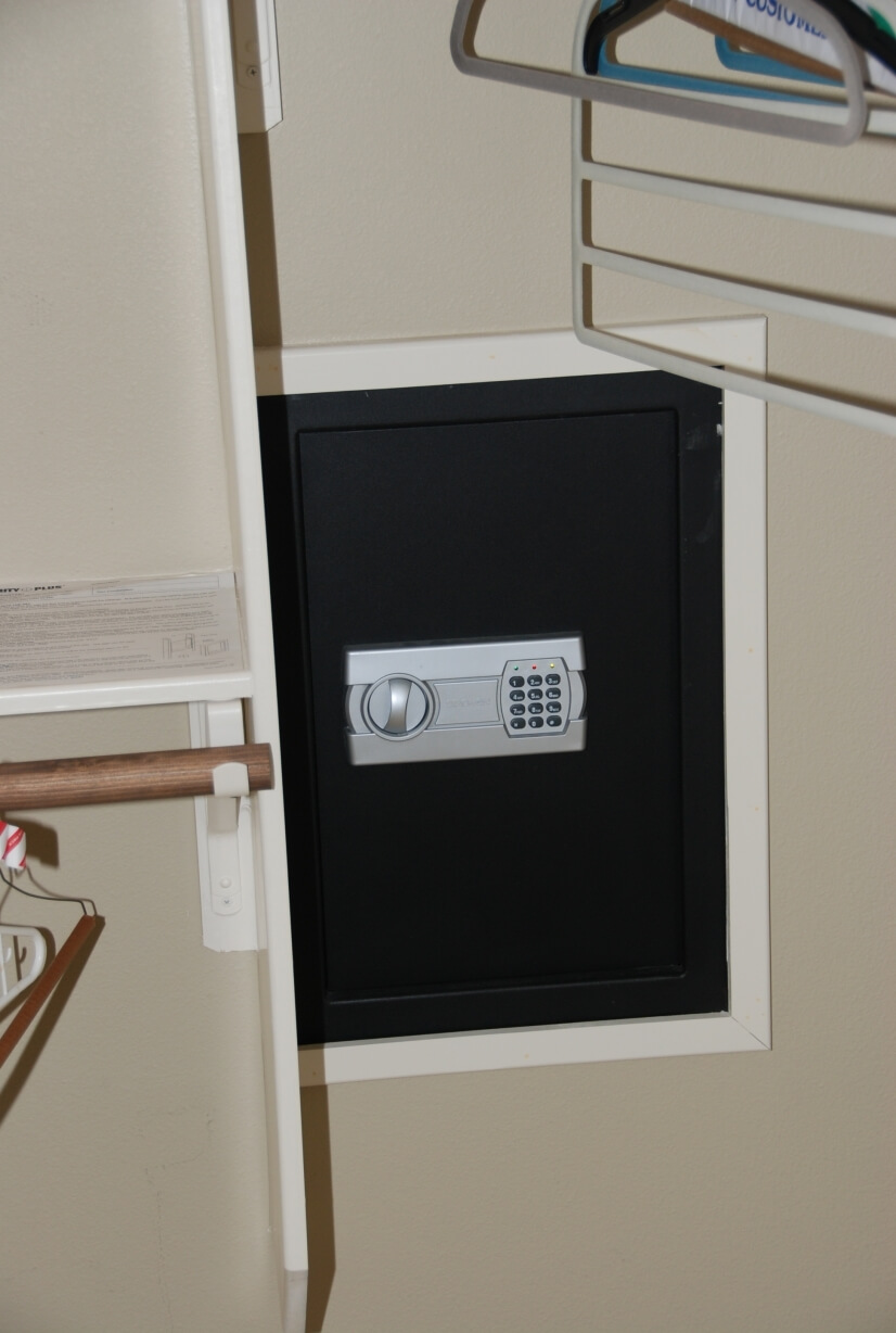Wall safe in the double master closet