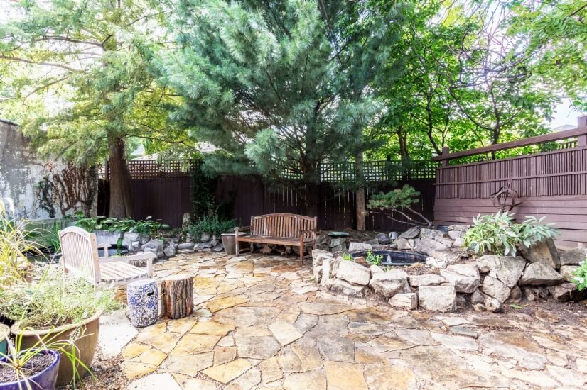 Flagstone Patio and two fish ponds