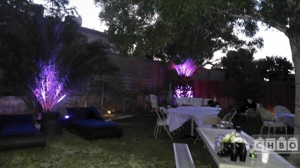 Backyard setup for a wedding