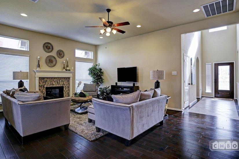 Fireplace and flat screen HD TV