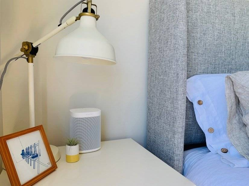 Thoughtful touches in bedrooms, including Sonos speakers