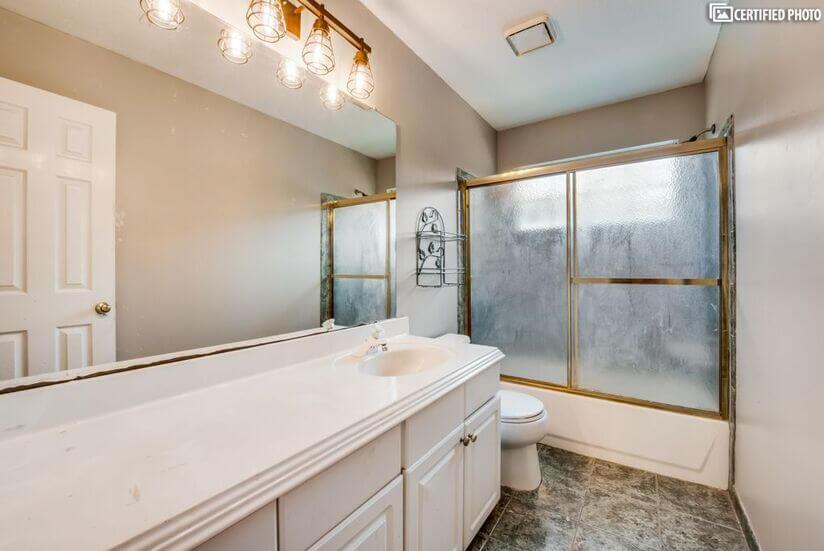 2nd full upstairs bathroom shared between add