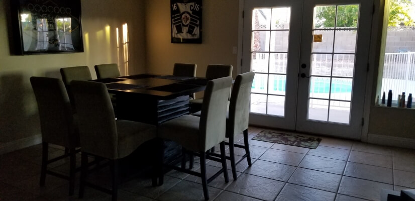 Dining area with backyard access