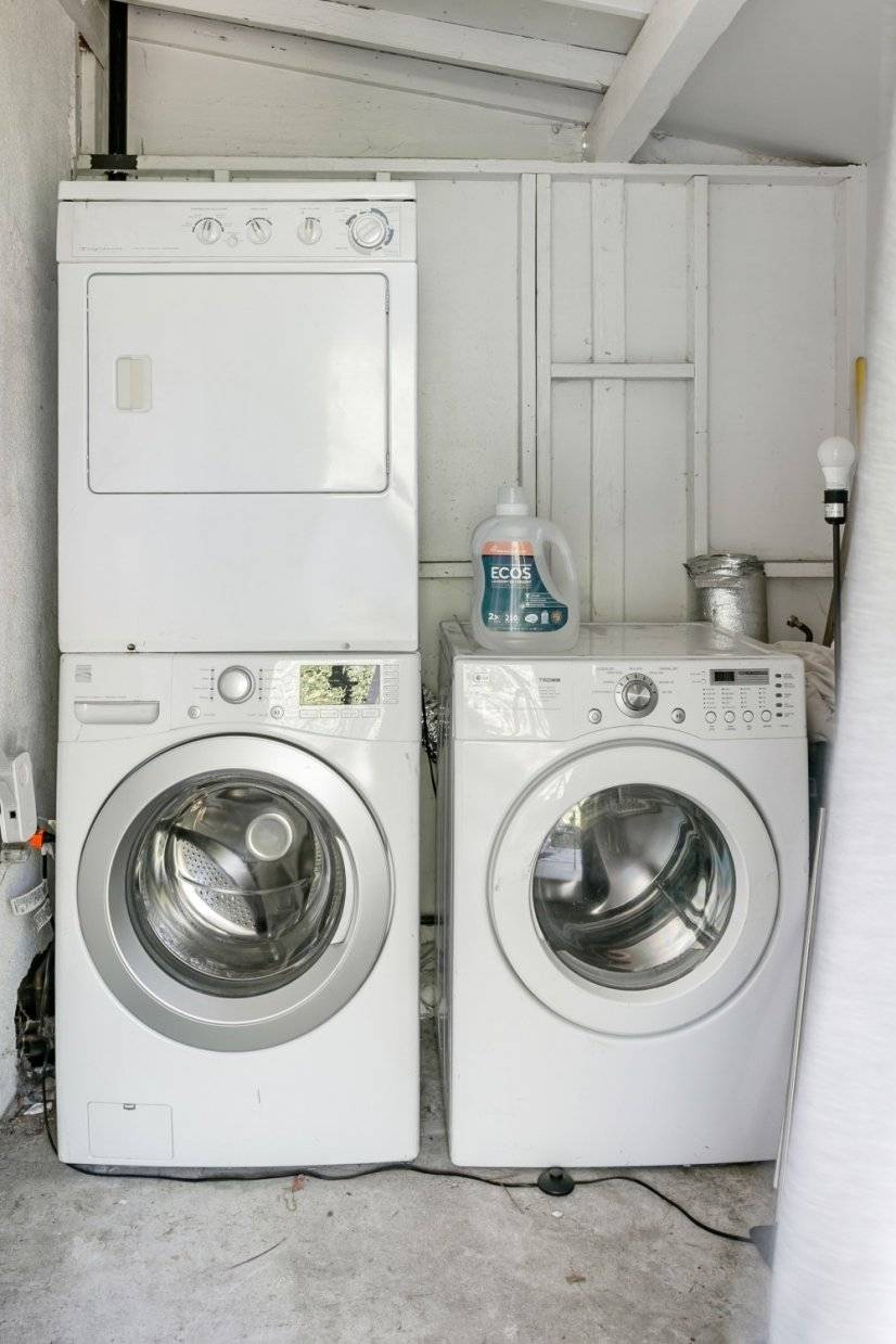 Private washer/dryer on back patio