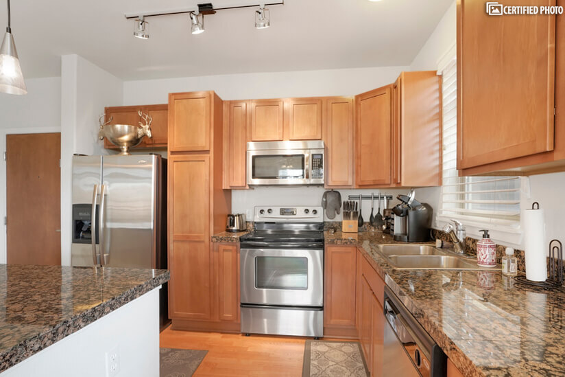Upgraded kitchen appliances.