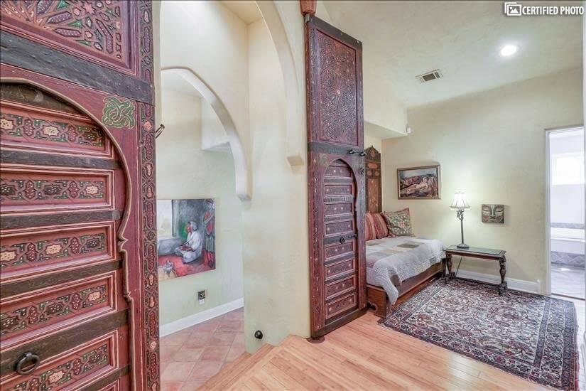 Morrocan doors into master bedroom.