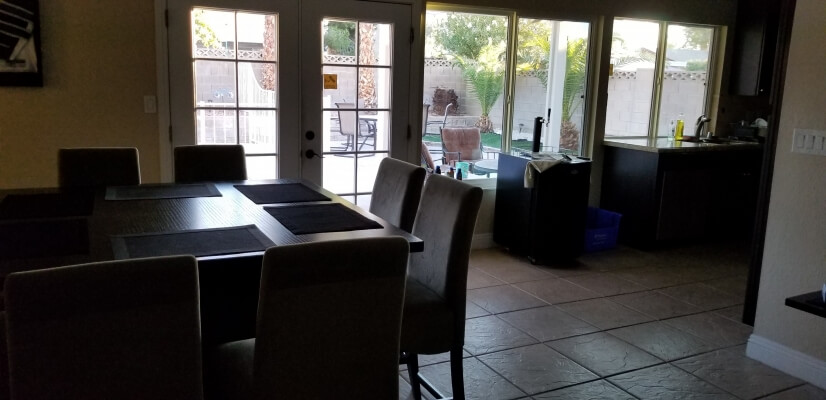 Dining & kitchen area with backyard access
