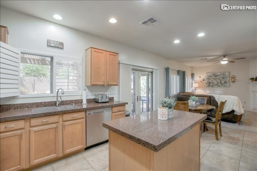 Gourmet kitchen with brand new stainless steel appliances