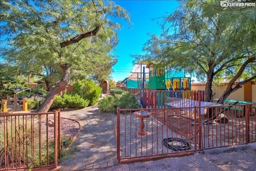 Backyard with playground & gazebos