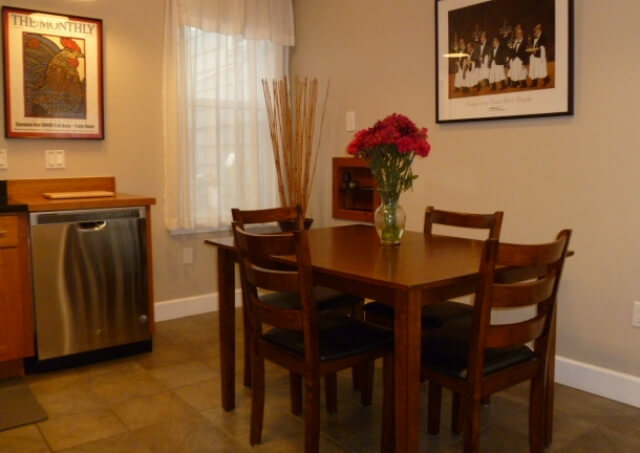 Dining area by kitchen; also dishwasher