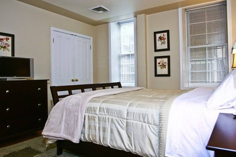 The large bedroom is with premium linens & two closets