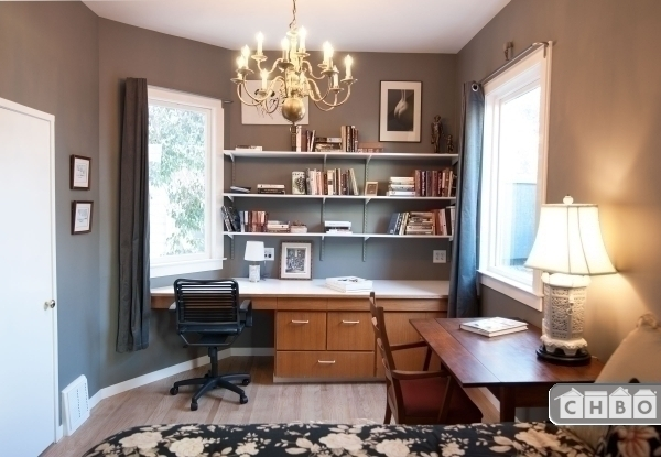 Wonderful work space and bookshelves in the Master bedroom
