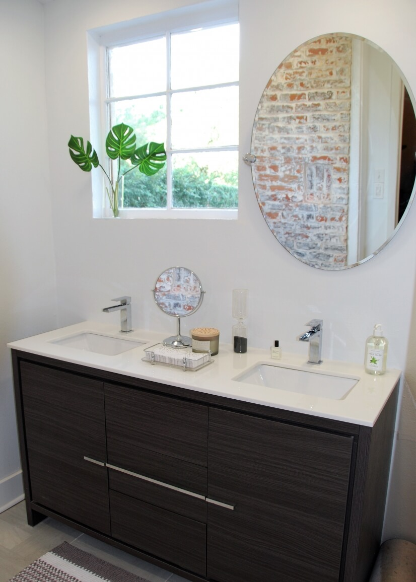 Double Vanity, Great Natural Light & Exposed Brick Walls