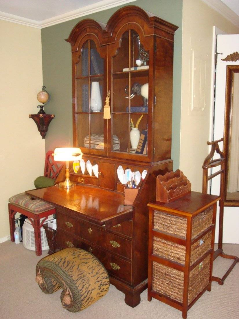 Curio desk, filing cabinet and valet
