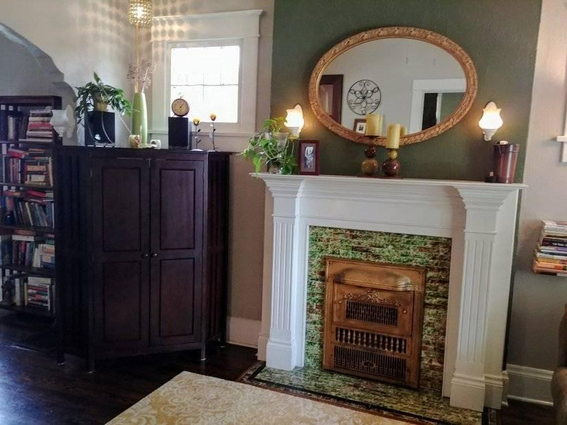 fireplace, closable entertainment center