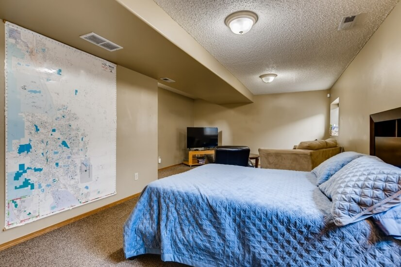Lower level bedroom with full bed.