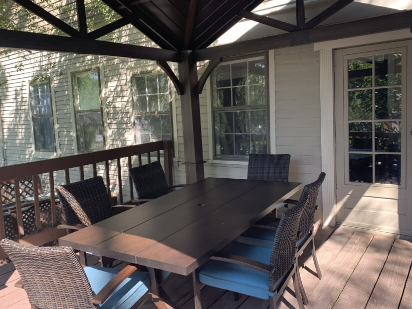 Back porch with seating and covering