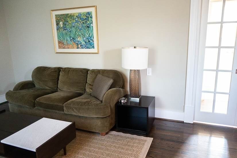 You can close off the living area from the bedrooms.