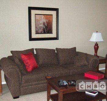furnished corporate rental - Living Area with Big Screen TV