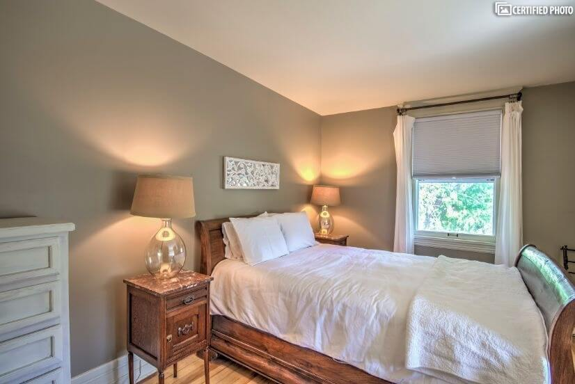 Spare bedroom with queen size bed