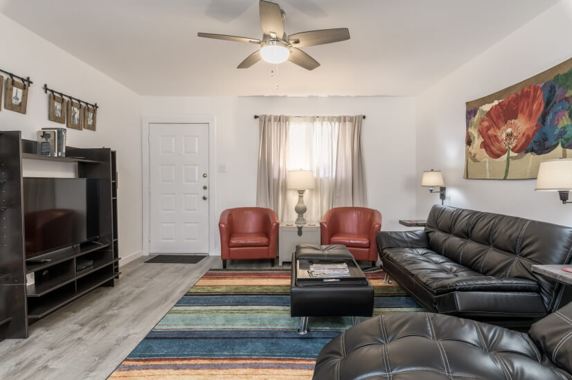 Living area with entertainment center