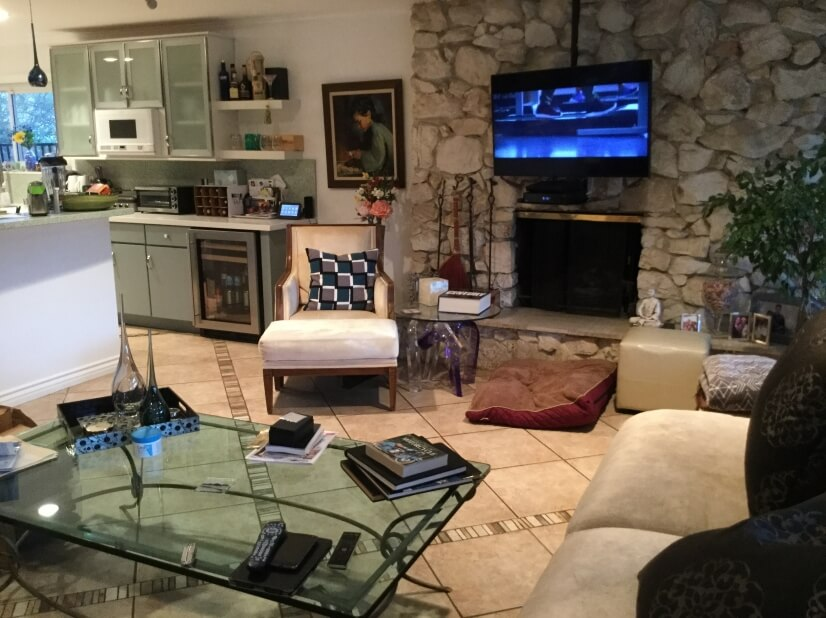 Another view of the spacious living room area & new kitchen.